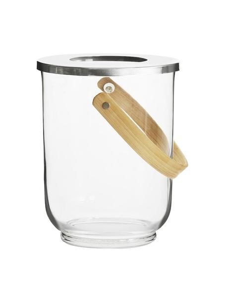 Windlicht Raphaela, Windlicht: glas, metaal, Transparant, zilverkleurig, bamboe, Ø 19 x H 23 cm