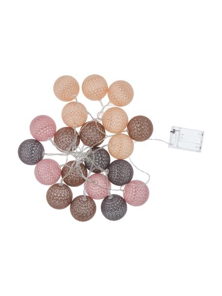 Ghirlanda  a LED Bellin, 320 cm, Lanterne: cotone, Marrone, beige, nero, rosa, Lung. 320 cm