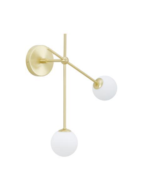 Wandlamp Moon, Baldakijn en fitting: geborsteld messingkleurig. Lampenkappen: wit. Snoer: zwart, B 39 x D 20 cm