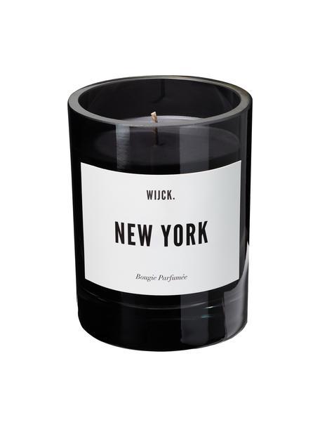 Duftkerze New York (Grüne Zitrone, Rosen & Holz), Behälter: Glas, mundgeblasen, Schwarz, Ø 8 x H 11 cm