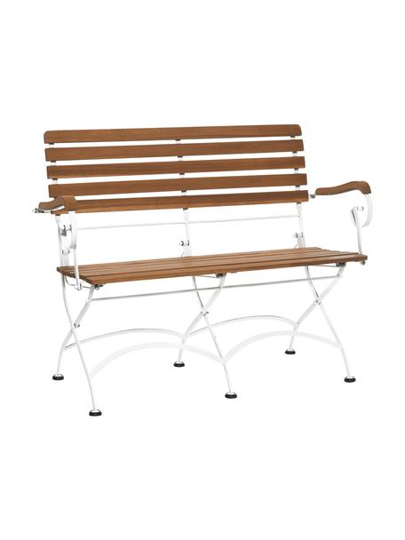 Garten-Klappbank Parklife mit Armlehnen, Sitzfläche: Akazienholz, geölt, Gestell: Metall, verzinkt, pulverb, Weiß, Akazienholz, B 111 x T 59 cm