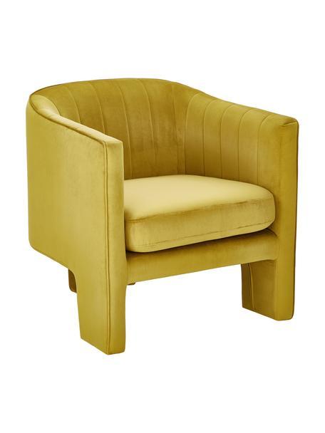 Fluwelen fauteuil Emilie in geel, Bekleding: fluweel (polyester) 50.00, Fluweel okergeel, B 75 x D 76 cm