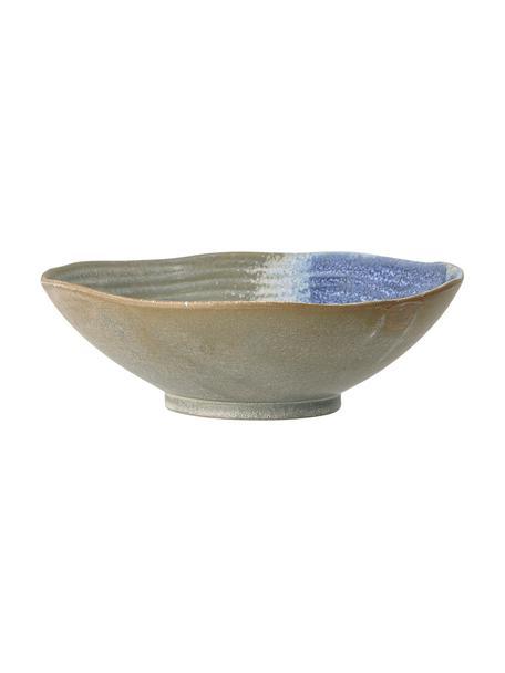 Handgefertige Servierschüssel Aura Ø 24 cm aus Steingut, Steingut, Blau, Beige, Grün, Ø 24 x H 7 cm
