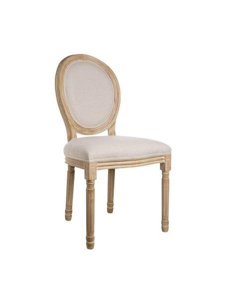 Set de sillas Louis, 2 uds., Tapizado: lino, Estructura: madera de abedul, Patas: madera de caucho, Beige, marrón, An 50 x F 48 cm