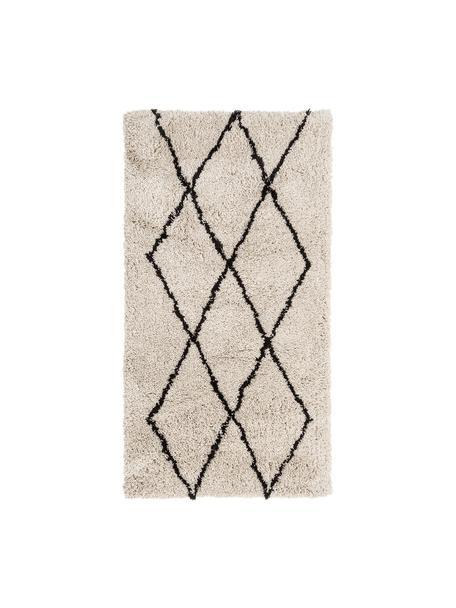 Flauschiger Hochflor-Teppich Nouria, handgetuftet, Flor: 100% Polyester, Beige, Schwarz, B 80 x L 150 cm (Grösse XS)