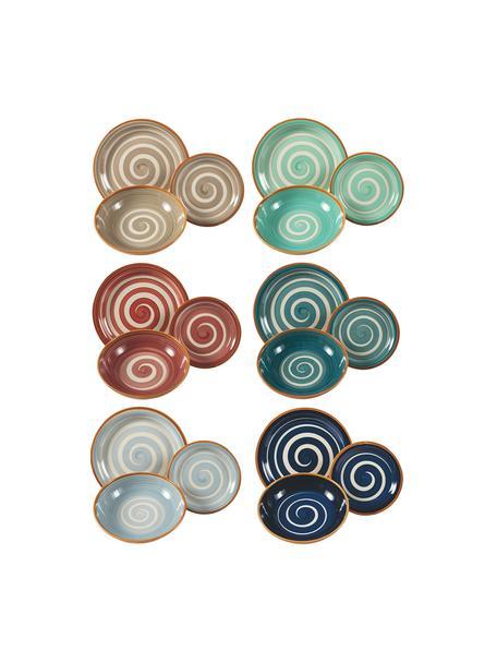 Geschirr-Set Formentera mit Spiraldekor, 6 Personen (18-tlg.), Steingut, Mehrfarbig, Set mit verschiedenen Grössen