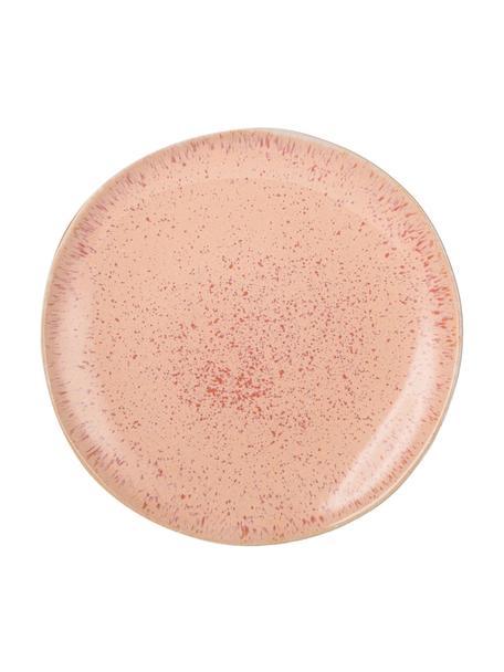 Handbemalte Frühstücksteller Areia mit reaktiver Glasur, 2 Stück, Steingut, Rottöne, Gebrochenes Weiß, Hellbeige, Ø 22 cm