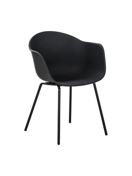 Sedia con braccioli e gambe in metallo Claire, Seduta: materiale sintetico, Gambe: metallo verniciato a polv, Materiale sintetico nero, Larg. 60 x Prof. 54 cm