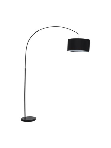 Lámpara arco Niels, estilo moderno, Pantalla: mezcla de algodón, Cable: cubierto en tela, Negro, An 157 x Al 218 cm