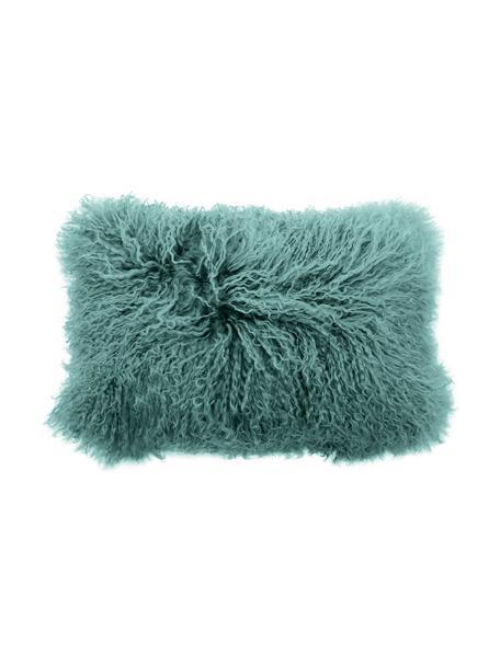 Federa arredo in pelliccia d'agnello a pelo lungo Ella, Retro: 100% poliestere, Turchese scuro, Larg. 30 x Lung. 50 cm