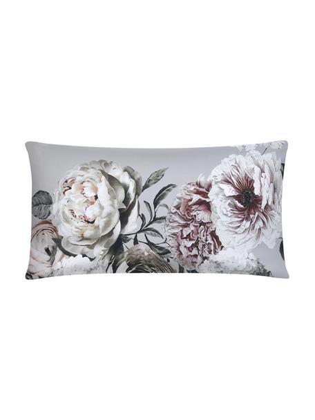 Funda de almohada de satén Blossom, Gris, An 45 x L 85 cm