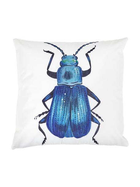 Kissenhülle Dunta mit Käferprint, 100% Baumwolle, Blautöne, Creme, 45 x 45 cm