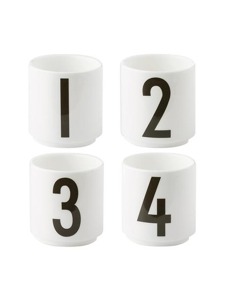 Tazas de diseño 1234, 4uds., Porcelana fina de hueso (porcelana) Fine Bone China es una pasta de porcelana fosfática que se caracteriza por su brillo radiante y translúcido., Blanco, negro, Ø 5 x Al 6 cm