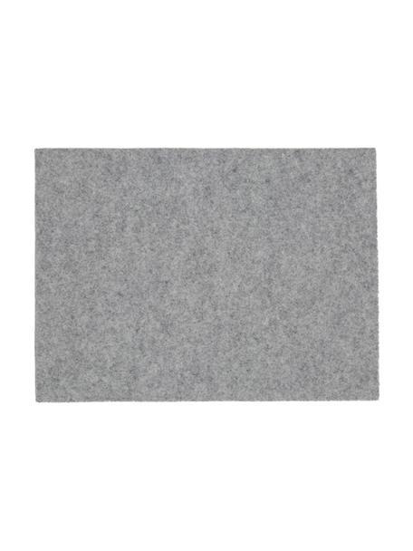 Tovaglietta americana in feltro di lana Leandra 4 pz, 90% lana, 10% polietilene, Grigio chiaro, Larg. 33 x Lung. 45 cm