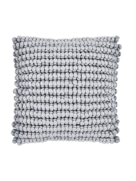Kissenhülle Iona mit kleinen Stoffkugeln in Hellgrau, Vorderseite: 76% Polyester, 24% Baumwo, Rückseite: Baumwolle, Hellgrau, 45 x 45 cm
