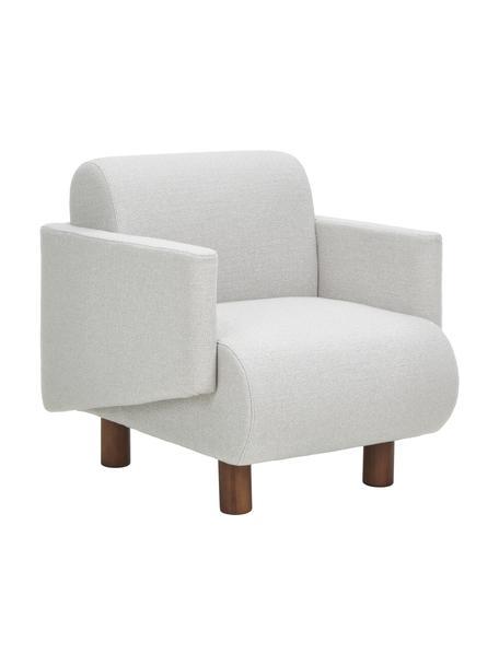 Fotel z drewnianymi nogami Nona, Tapicerka: 100% poliester Dzięki tka, Nogi: lite drewno bukowe, lakie, Szary, S 92 x G 79 cm