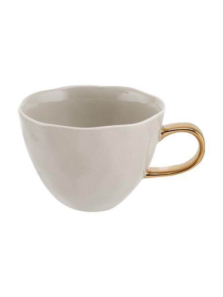 Tasse Good Morning in Grau mit goldenem Griff, Steingut, Grau, Goldfarben, Ø 11 x H 8 cm