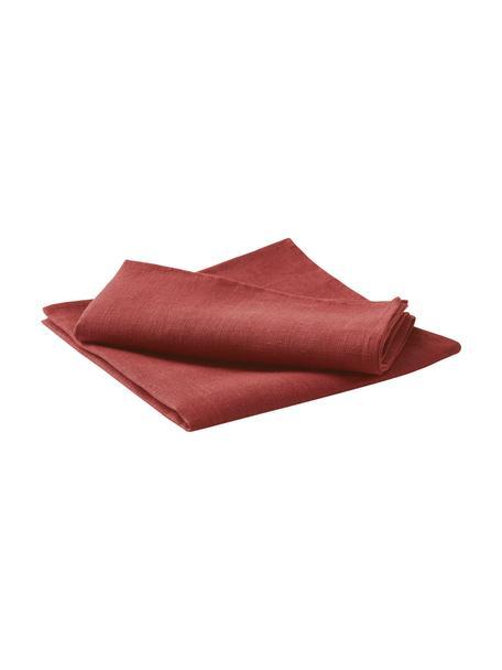 Serwetka z lnu Heddie, 2 szt., 100% len, Czerwony, 45 x 45 cm