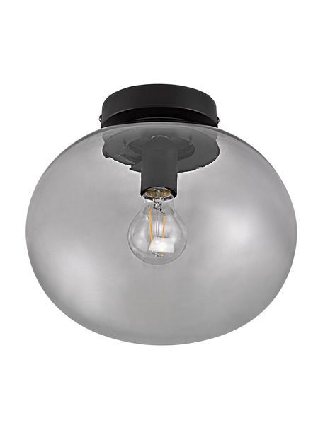 Plafoniera in vetro tinto Alton, Paralume: vetro colorato, Baldacchino: metallo rivestito, Grigio trasparente, nero, Ø 28 x Alt. 24 cm