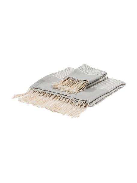 Komplet ręczników z wykończeniem z lurexu  Copenhague, 3 elem., Szary perłowy, odcienie srebrnego, biały, Komplet z różnymi rozmiarami