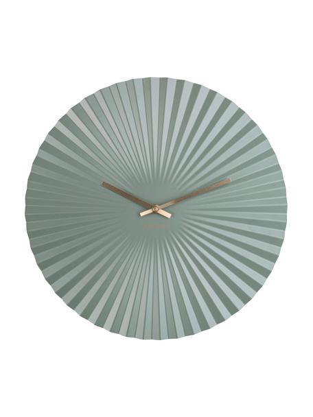 Zegar ścienny Sensu, Metal powlekany, Miętowy, odcienie mosiądzu, Ø 40 cm
