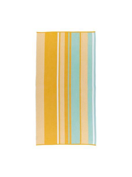 Toalla de playa Sunny Lime, Amarillo, azul claro, An 100 x L 180 cm