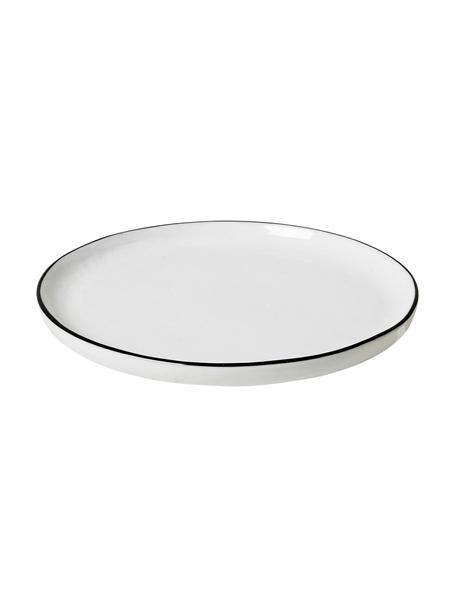 Handgemaakte dessertborden Salt, 4 stuks, Porselein, Gebroken wit, zwart, Ø 18 cm