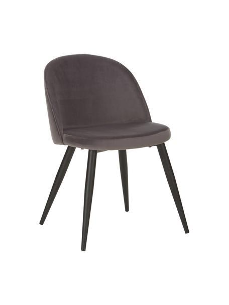 Krzesło tapicerowane z aksamitu  Amy, 2 szt., Tapicerka: aksamit (poliester) 2500, Nogi: metal malowany proszkowo, Ciemnyszary, S 51 x G 55 cm