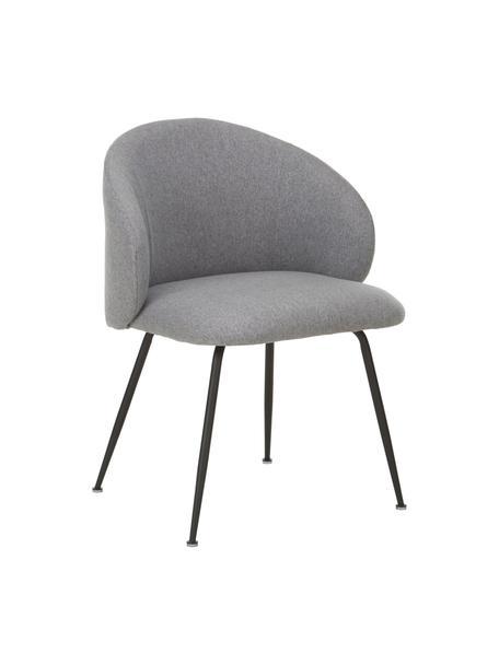 Krzesło tapicerowane Luisa, 2 szt., Nogi: metal malowany proszkowo, Szary, czarny, S 61 x G 58 cm