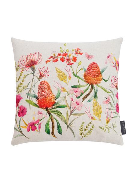 Federa arredo con motivo floreale Caleo, 85% cotone, 15% lino, Beige, multicolore, Larg. 40 x Lung. 40 cm
