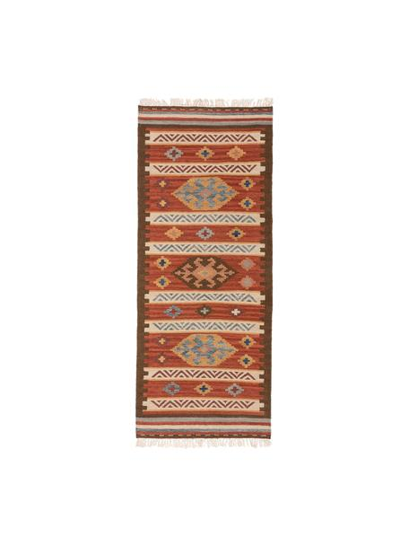 Handgeweven kelim loper Zohra van wol, Bovenzijde: 90% wol, 10% katoen, Onderzijde: wol, Rood, multicolour, 80 x 200 cm