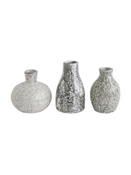 Komplet wazonów dekoracyjnych z terakoty Kronos, 3 elem., Terakota, Odcienie szarego, Komplet z różnymi rozmiarami
