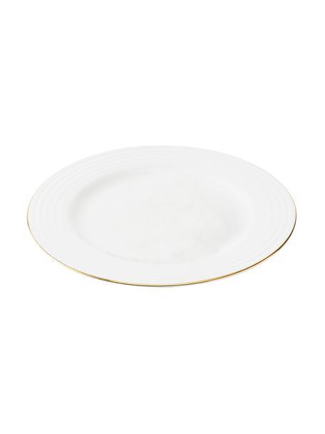 Talerz śniadaniowy Cobald, 4 szt., Porcelana, Biały, odcienie złotego, Ø 23 cm