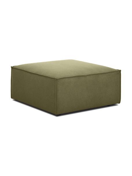 Poggiapiedi da divano in tessuto verde Lennon, Rivestimento: 100% poliestere 35.000 ci, Struttura: legno di pino massiccio, , Piedini: materiale sintetico, Rivestimento: verde Piedini: nero, Larg. 88 x Alt. 43 cm