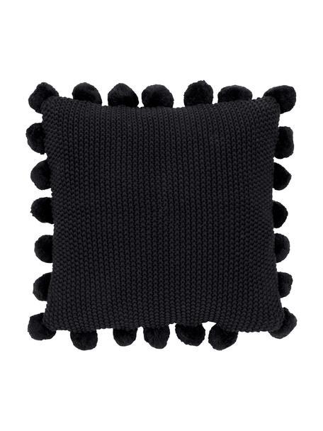 Gebreide kussenhoes Molly met pompoms, 100% katoen, Zwart, 40 x 40 cm