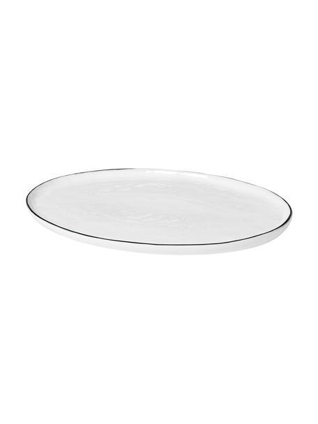 Handgemaakte serveerplateau Salt met zwarte rand, B 20 x L 30 cm, Porselein, Gebroken wit, zwart, 20 x 30 cm