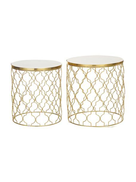 Set de mesas auxiliares de mármol Blake, 2uds., Tablero: mármol natural, Estructura: metal recubierto, Blanco, dorado, Set de diferentes tamaños