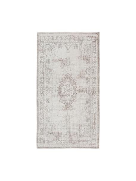 Alfombra de chenilla Medaillon, estilo vintage, Parte superior: 100%chenilla (algodón), Reverso: tejido de chenilla recubi, Gris claro, marrón, An 80 x L 150 cm (Tamaño XS)