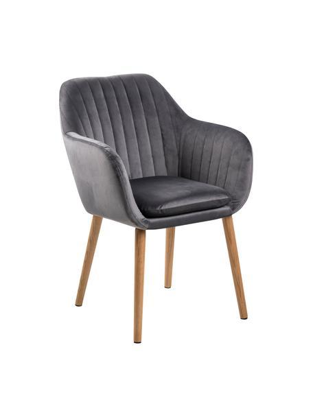 Krzesło tapicerowane z podłokietnikami z aksamitu Emilia, Tapicerka: poliester (aksamit), Nogi: drewno dębowe, olejowane , Aksamit ciemny szary, nogi: czarny, S 57 x G 59 cm