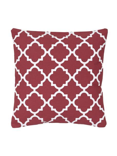 Federa arredo con motivo grafico Lana, 100% cotone, Rosso scuro, bianco, Larg. 45 x Lung. 45 cm