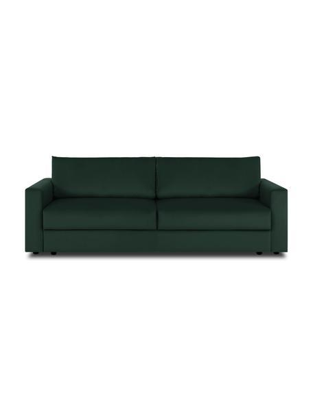 Sofa z funkcją spania z aksamitu Tasha, Tapicerka: aksamit (100% poliester) , Stelaż: lite drewno sosnowe, skle, Nogi: tworzywo sztuczne, Aksamitny zielony, S 235 x G 100 cm