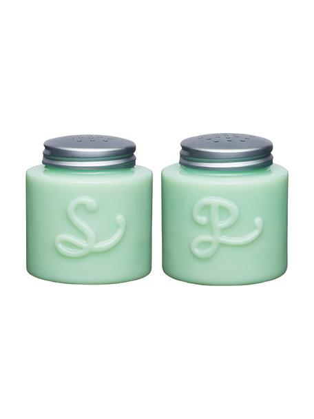 Salz- und Pfefferstreuer Mint, 2er-Set, Glas, Metall, Mintgrün, Ø 6 x H 13 cm