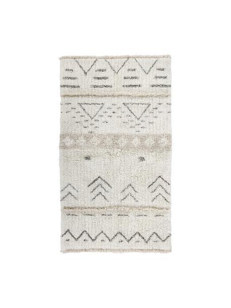 Handgewebter Wollteppich Lakota Day mit Ethno Muster, Flor: 100% Wolle, Creme, Beige, Dunkelgrau, B 80 x L 140 cm (Grösse XS)