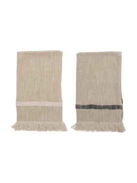 Geschirrtücher Nature mit Fransen, 2er-Set, Baumwolle, Beige, 45 x 70 cm