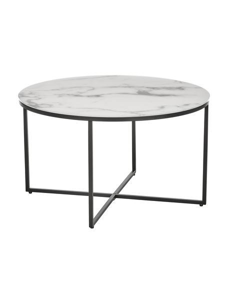 Couchtisch Antigua mit marmorierter Glasplatte, Tischplatte: Glas, matt bedruckt, Gestell: Stahl, pulverbeschichtet, Weiss-grau marmoriert, Schwarz, Ø 80 x H 45 cm
