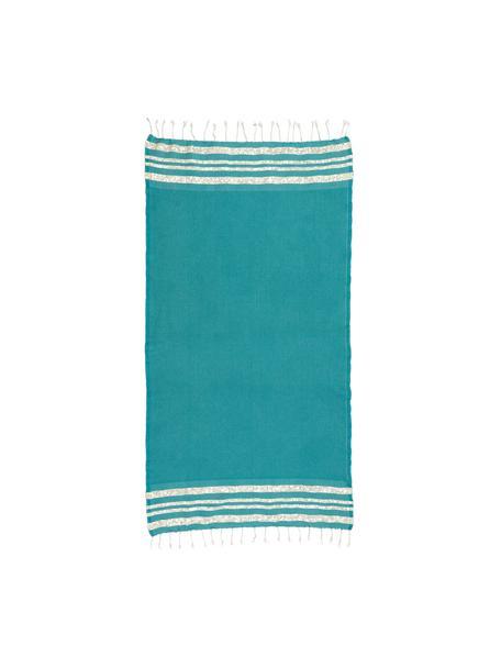 Telo mare in cotone Hamptons, Strisce: Lurex, Blu verde, dorato, Larg. 100 x Lung. 200 cm