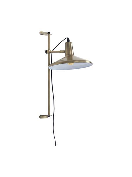 In hoogte verstelbare wandlamp Twiss met stekker, Lampenkap: gelakt metaal, Messingkleurig, Ø 25 x H 50 cm