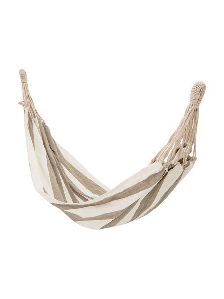 Hängematte Lazy aus Baumwolle mit gestreiftem Muster, Baumwolle, Weiß, Beige, 100 x 270 cm