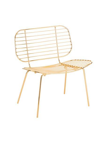 Sedia a poltrona in metallo dorata Chloé, Metallo rivestito, Ottone, Larg. 71 x Alt. 49 cm