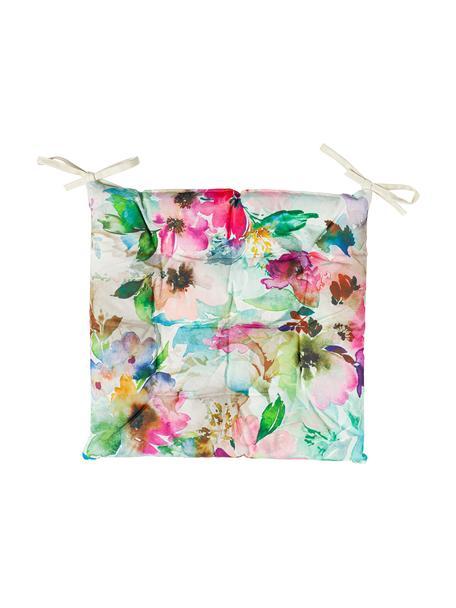 Outdoor-Sitzkissen Painted Flower mit Aquarell Print, 100% Polyester, Mehrfarbig, 40 x 40 cm